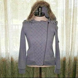 SO Women's jacket medium faux fur lined hood Bin6